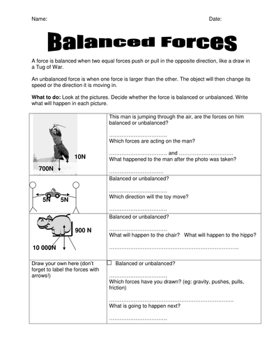 Worksheets Balanced And Unbalanced Forces Worksheet balanced forces worksheet by seasonticket teaching resources tes