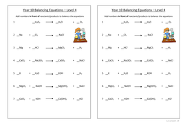 Balancing equations - level 4 by mattcox800 | Teaching Resources