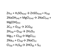 reaction equations for understanding chemistry reactions task.doc