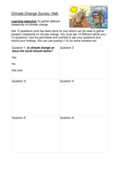 Climate change: Students complete a survey