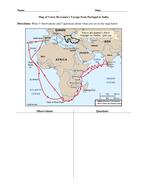 Map of Vasco da Gama and Columbus Voyages