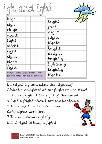 Worksheets Ight Words Worksheet phonics igh and ight by coreenburt teaching resources tes