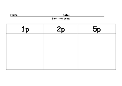 Coin worksheets by gboorman Teaching Resources Tes – Sorting Worksheet