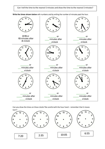 Telling The Time 5 Mins By Smileyscribe Teaching Resources Tes