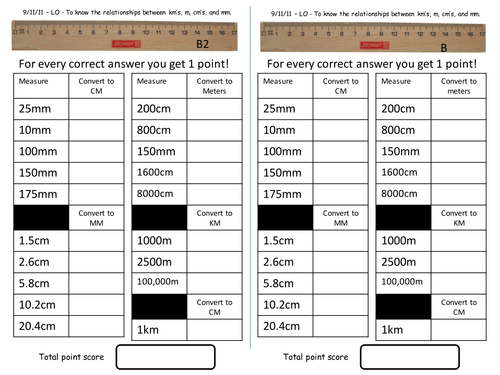 Length Converting mm cm m and km by Andyjink99 Teaching – Converting Measurement Worksheets
