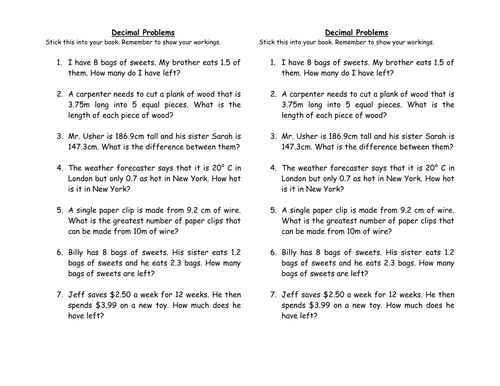 Decimal Word Problems by clairetunnicliffe Teaching Resources Tes – Adding Decimals Word Problems Worksheet