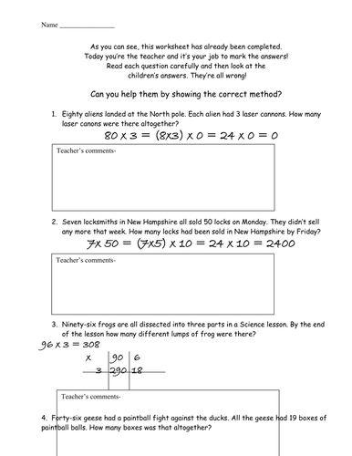 3 Digit By 1 Digit Multiplication Worksheets Pdf Be The Teacher Correct Multiplication Errors By Mrsbradley  Worksheet Functions Pdf with Simple Equation Worksheets Be The Teacher Correct Multiplication Errors By Mrsbradley  Teaching  Resources  Tes Context Clues Worksheet 7th Grade