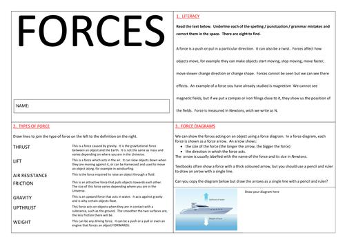 Types Of Forces Worksheet Worksheets Tutsstar Thousands