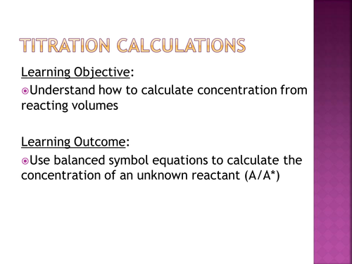 Titration calculations by salreid Teaching Resources TES – Titrations Practice Worksheet