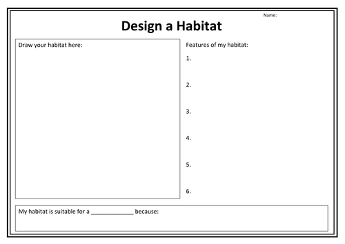 Design a habitat worksheet by purpledna Teaching Resources Tes – Habitat Worksheet