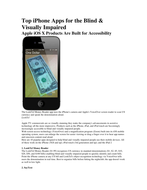 Top iPhone Apps for the Blind & Visually Impaired
