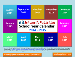 2014 - 2015 Interactive School Year Calendar