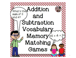 Addition/Subtraction Vocab Memory/Matching Games
