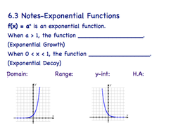 Exponential Function Guided Notes & Answer Key