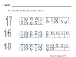 Pair number with ten frame, Number (16, 17, 18)