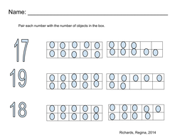 Pair number with ten frame, Number (17, 18, 19)