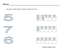 Pair number with ten frame, Number (5,6,7)