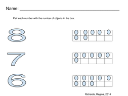 Pair number with ten frame, Number (6,7,8)