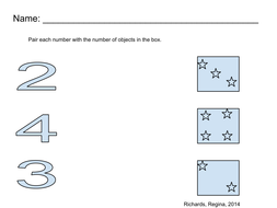 Pair number with objects in a box, Number (2,3,4)