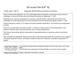 SEL / US Government Integrated Lesson Unit Gr 9-10