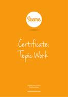 Terrific Topic Work Award Certificate