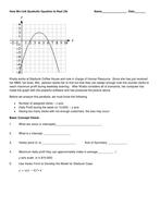 Use a Scenario to Open Up Quadratic Eq in Vertex