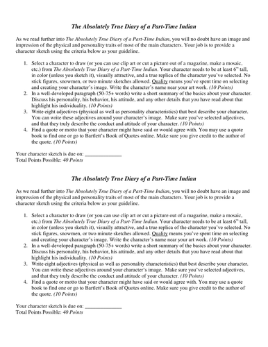 the absolutely true diary of a part time n by annprosenbaum  the absolutely true diary of a part time n by annprosenbaum teaching resources tes
