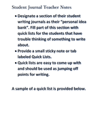 Student Journal Quick List Idea Banks