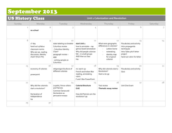 Calendar of US History lessons