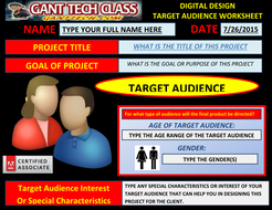 Digital Design Planning Sheet (Target Audience)