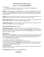 Spanish First Day in KG Parent Letter
