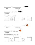 Halloween themed word problem sentence frames