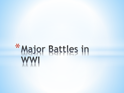 WWI-Strategies and Battles
