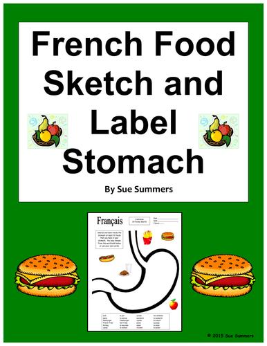 french vocabulary bundle of 3 sketch and label activity worksheets by suesummersshop us. Black Bedroom Furniture Sets. Home Design Ideas