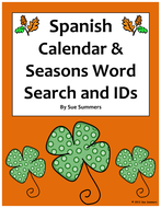 Spanish Calendar & Seasons Word Search & IDs - Calendario