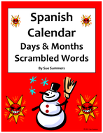 Spanish Calendar Scrambled Words - Days, Months, Seasons & Images