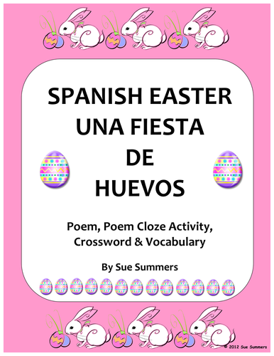 spanish easter poem crossword cloze activity and vocabulary list by suesummersshop teaching. Black Bedroom Furniture Sets. Home Design Ideas