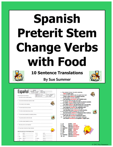 Spanish Preterit Stem Change Verb Sentences With Food