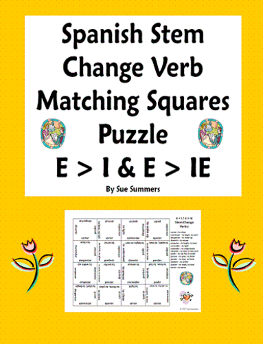 Spanish Stem Change Verbs Matching Squares Puzzle E I And