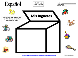 Spanish Toy Box Sketch and Label Activity with Vocabulary List