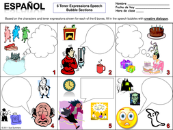 Spanish Tener Expressions Worksheet Speech Bubble Creative Writing ...