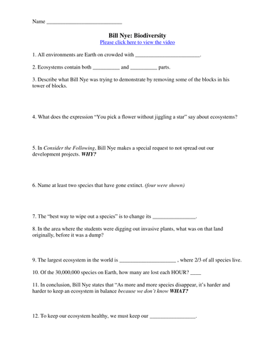 Bill Nye Video Worksheets (FOUR) - Ecology Worksheet Collection by ...