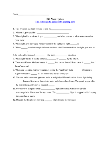 Bill Nye Video Worksheets (FOUR) - Electricity and Optics Worksheet ...