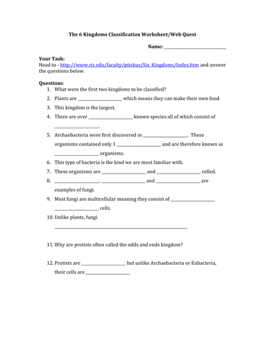 Worksheet 6 Kingdoms Worksheet the classification of living things biology lesson and web quest 6 kingdoms worksheet docx