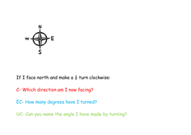 math trail for directions turns and degrees