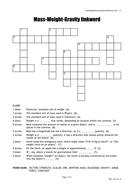 Mass Weight and Gravity crossword quick starter activity