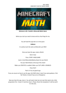 Minecraft Math Project Part 1