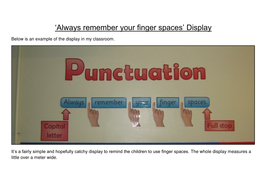 'Always remember your finger spaces' Punctuation Display