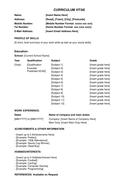 Simple CV Curriculum Vitae Template for High School Students