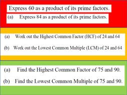 HCF LCM Prime Factor Decomposition Starter